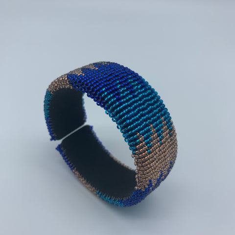 Beaded Bangle-Jumbo Blue Variation 2 - Lillon Boutique