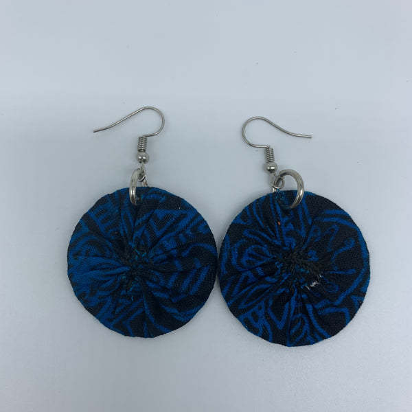 African Print Earrings-Round XS Blue Variation 16