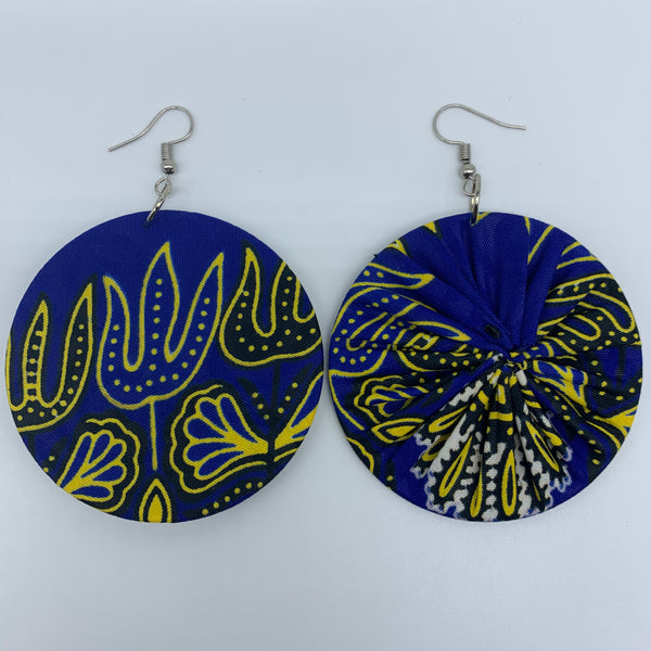 African Print Earrings-Round M Blue Variation 21