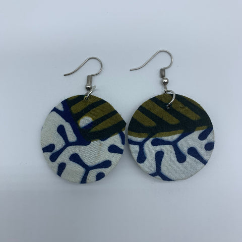 African Print Earrings-Round XS White Variation