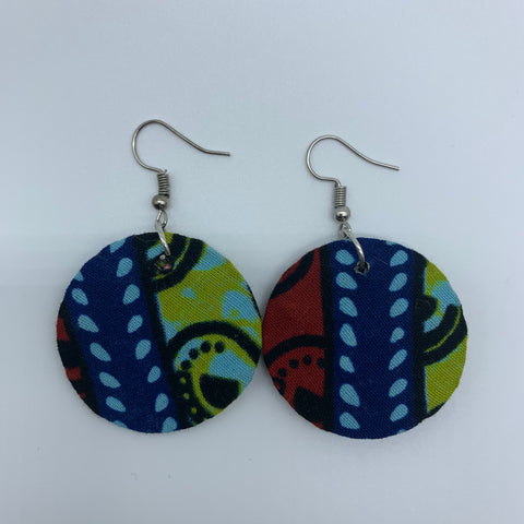 African Print Earrings-Round XS Blue Variation 14