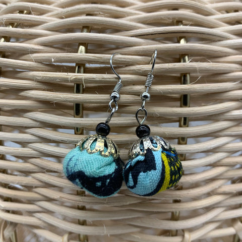 African Print Earrings W/ Beads-Puff Ball Blue Variation 4