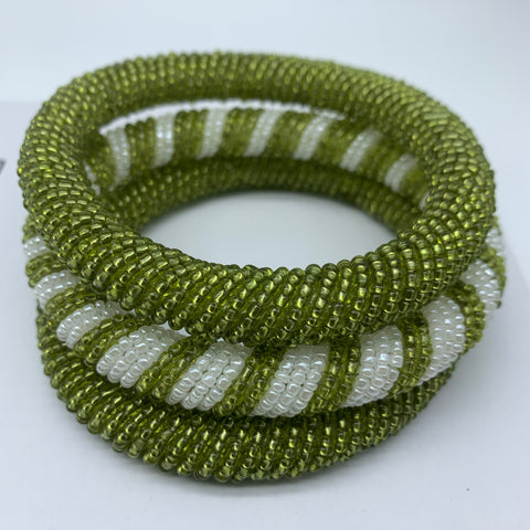 Beaded Bangle-Metallic Green  and  Pearl White - Lillon Boutique