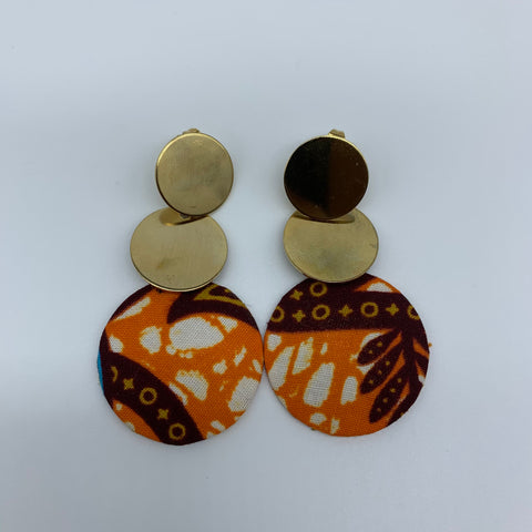 African Print Earrings-Metal Orange Variation - Lillon Boutique