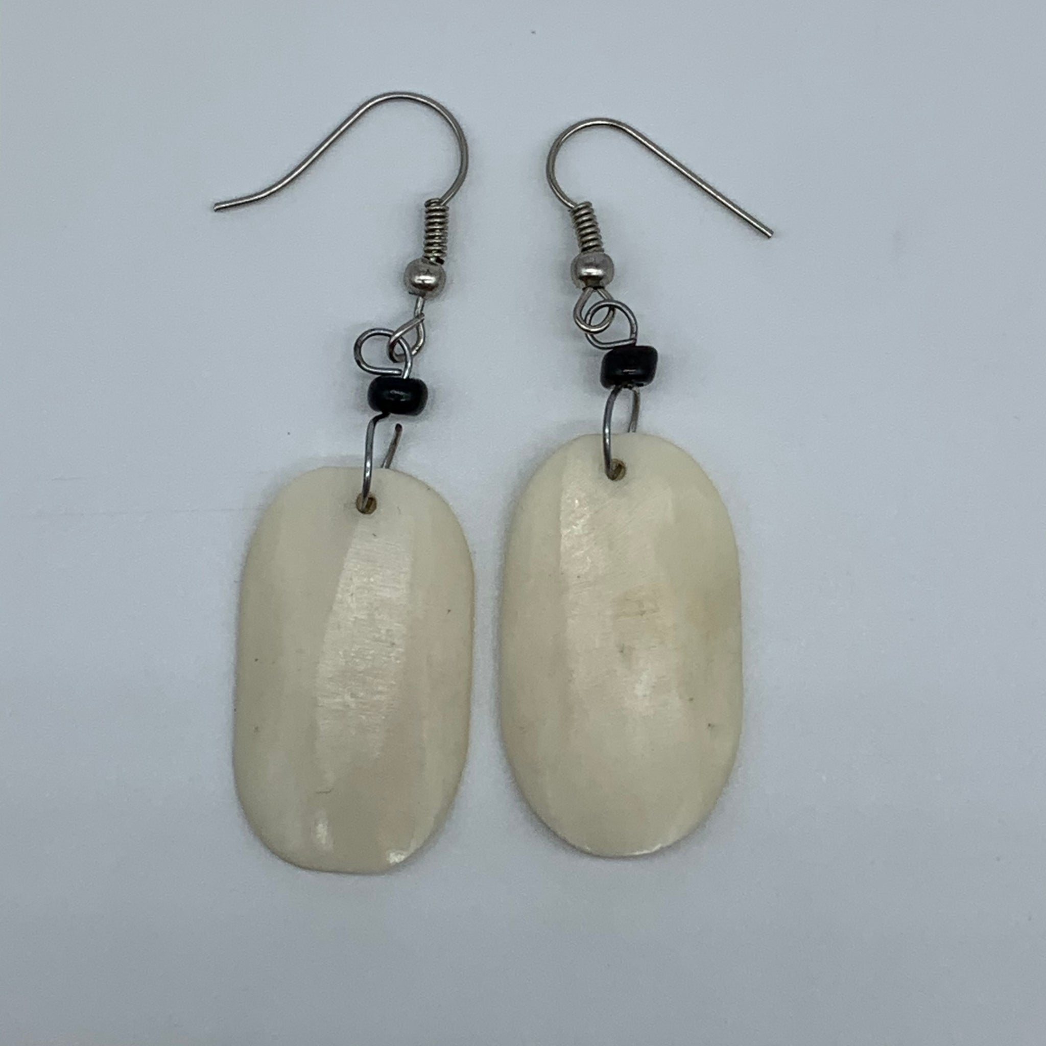 Cow Bone Earrings- Oval White - Lillon Boutique