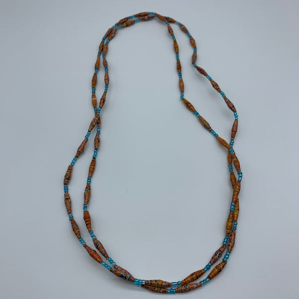 Paper Necklace with Beads-Orange Variation 2