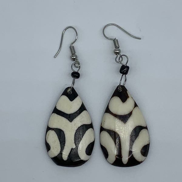 Cow Bone Earrings-Black and White 8 - Lillon Boutique
