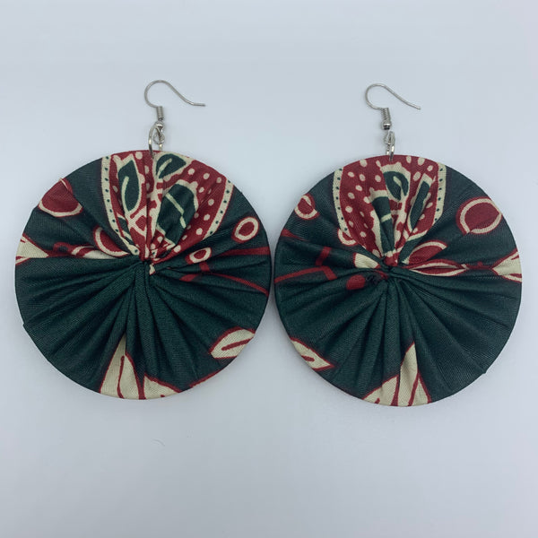 African Print Earrings-Round L Green Variation 7