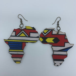African Print Earrings-Africa Map Multi Colour