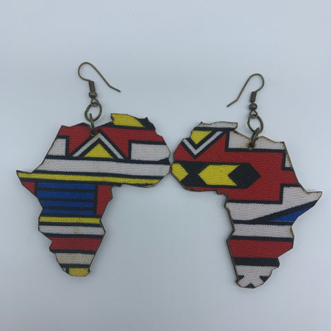 African Print Earrings-Africa Map Multi Colour - Lillon Boutique
