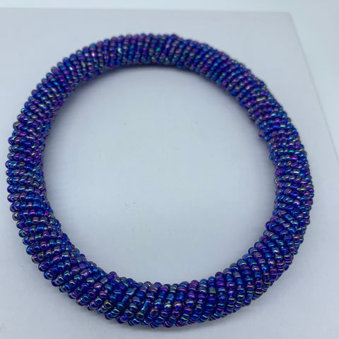 Beaded Bangle-Blue Metallic