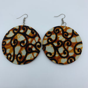 African Print Earrings-Round M Brown Variation 7