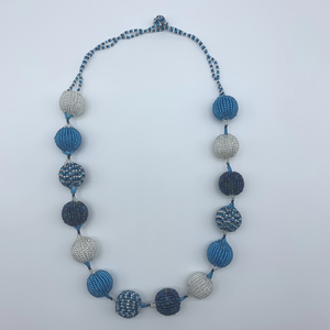 Beaded Necklace-Spaced Marble Blue Variation - Lillon Boutique