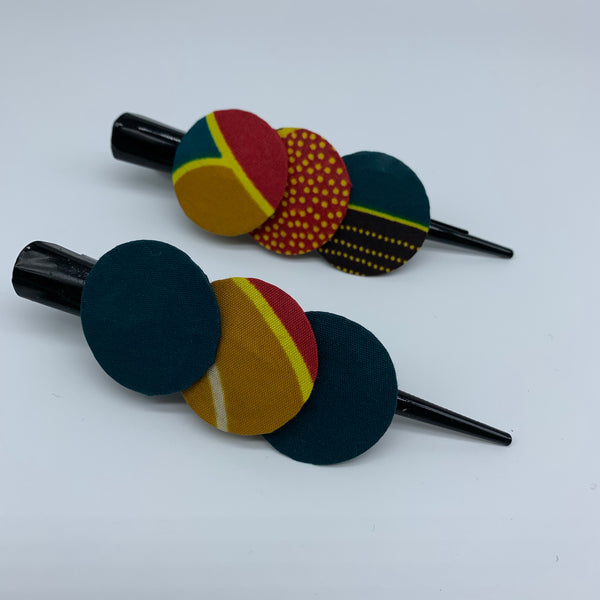 African Print Hair Clip- L Green Variation 4 - Lillon Boutique