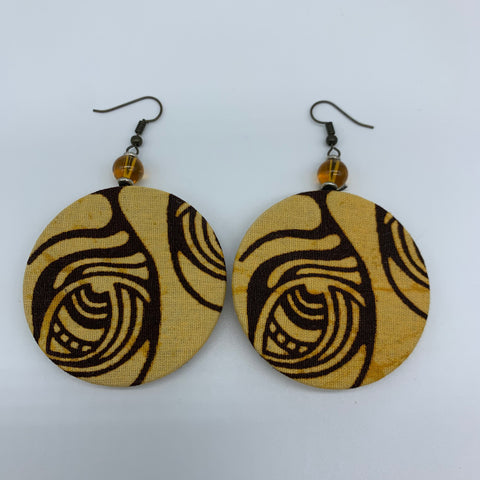 African Print Earrings W/ Beads-Round S Brown Variation
