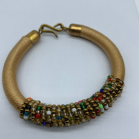 Beaded Thread Bangle-Champagne Variation