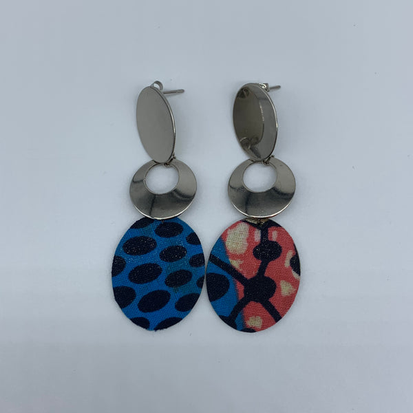 African Print Earrings-Metal Blue Variation - Lillon Boutique