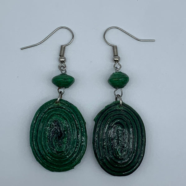 Recycled Paper Earrings- Green Variation 5 - Lillon Boutique