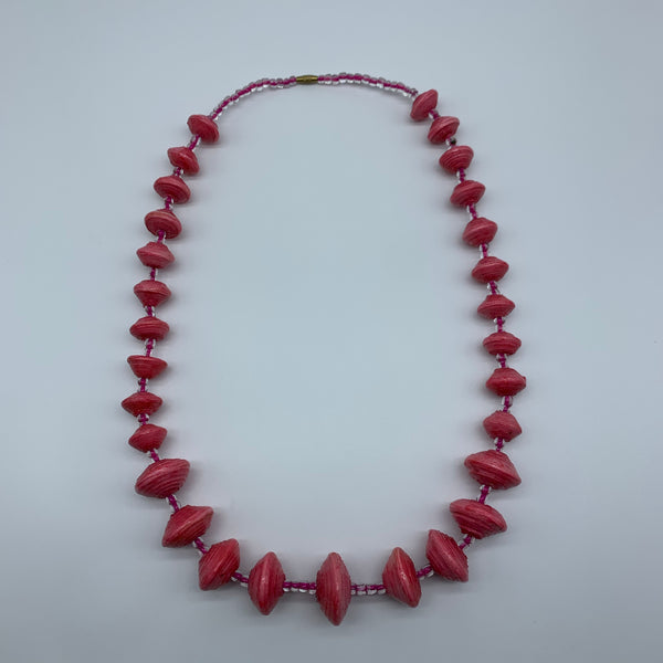 Paper Necklace with Beads-Pink 2