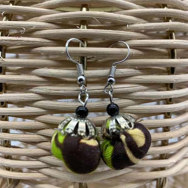 African Print Earrings W/ Beads-Puff Ball Green Variation 4