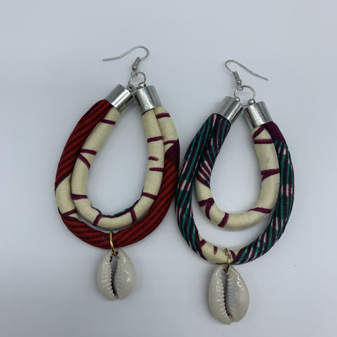 African Print W/Shell Earrings- IC Purple Variation