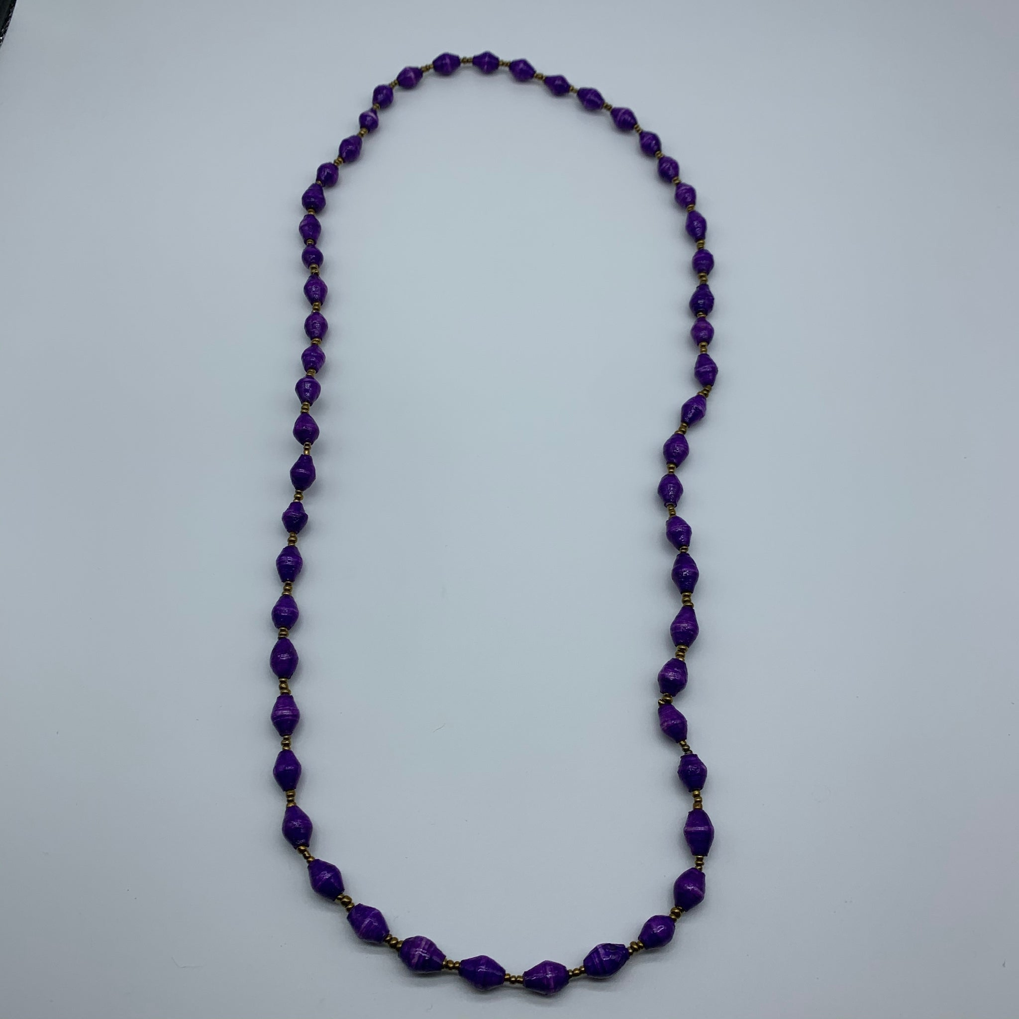 Paper Necklace with Beads-Purple Variation