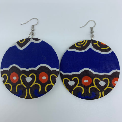 African Print Earrings-Round M Blue Variation 24
