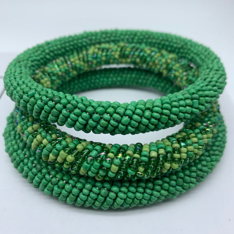 Beaded Bangle-Green Variation