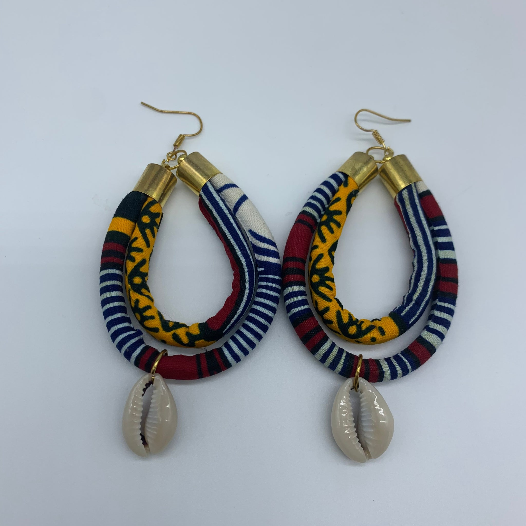 African Print W/Shell Earrings- IC Blue Variation 4