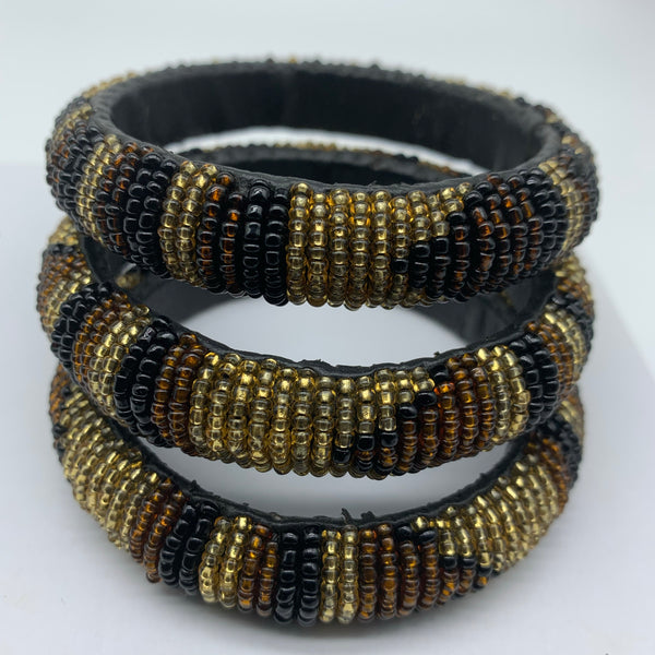 Beaded Bangle-Brown Gold Black Variation
