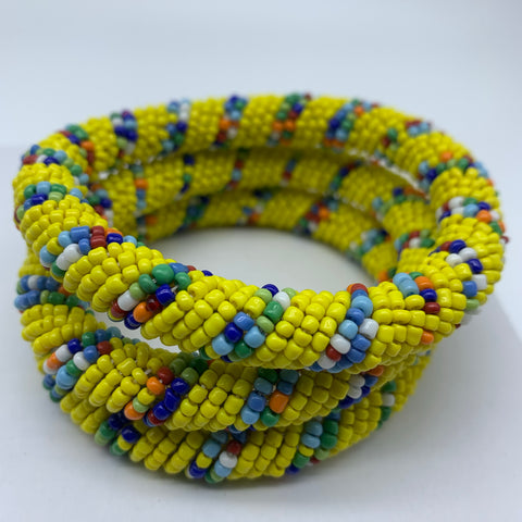 Beaded Bangle-Yellow and Multi Colour Variation