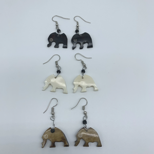 Cow Bone Earrings-Elephant - Lillon Boutique