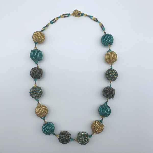 Beaded Necklace-Spaced Marble Teal Variation