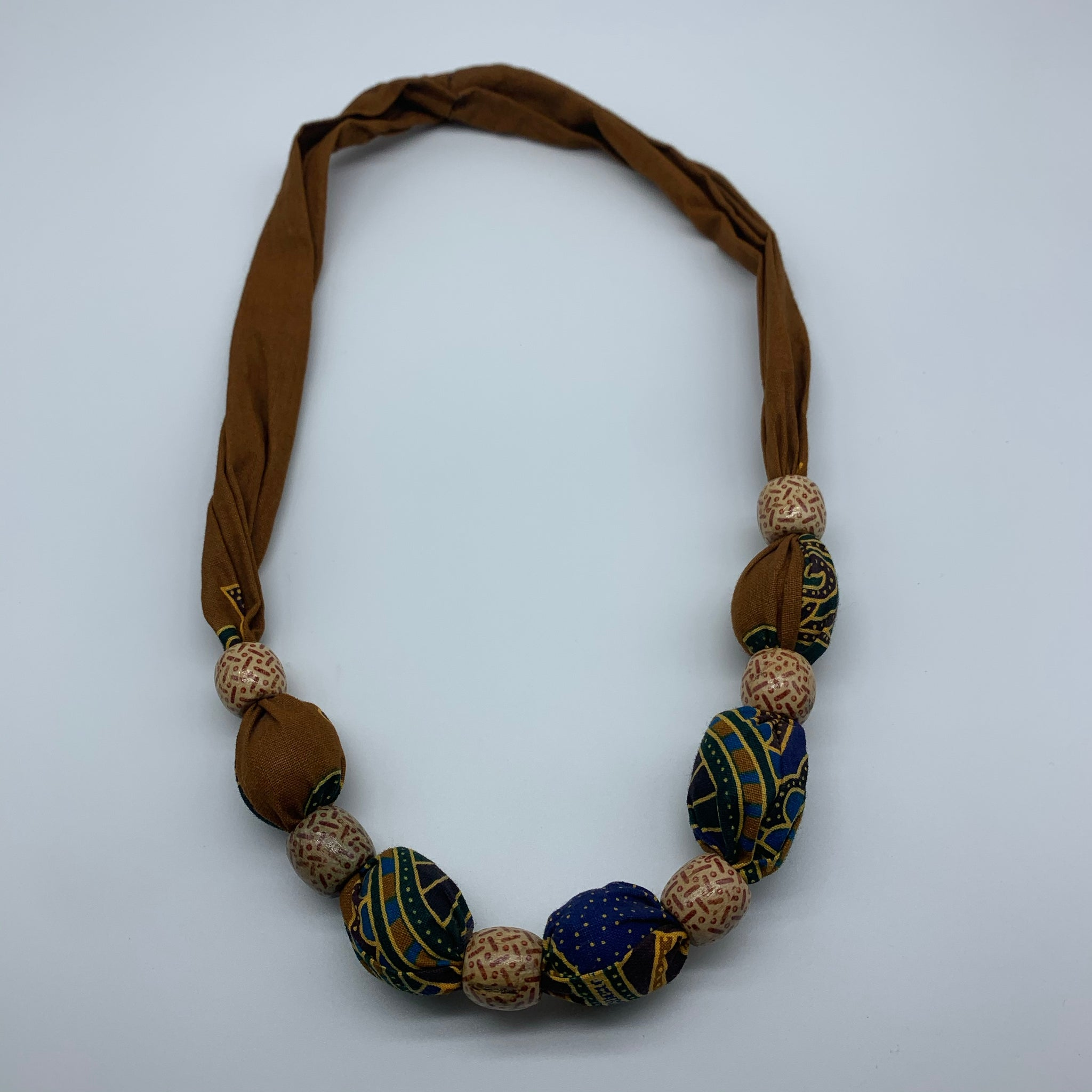African Print Necklace W/Wooden Beads-Brown Variation 2