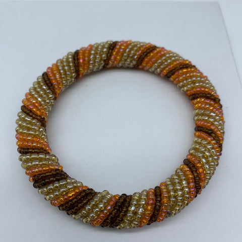 Beaded Bangle-Orange and Metallic Variation 2