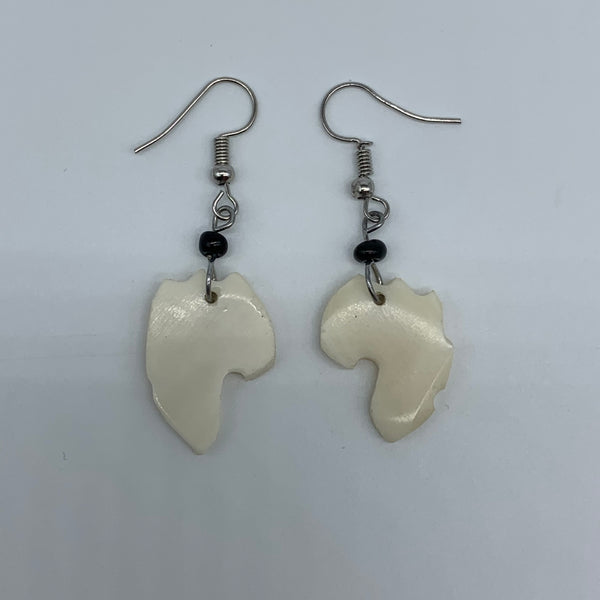 Cow Bone Earrings-African Continent White - Lillon Boutique