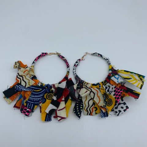 African Print Earrings-Zoba Zoba Hoops Pink Variation 2