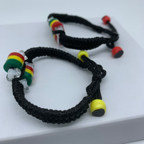 Handwoven Bracelet with Beads-Red Yellow Green Variation