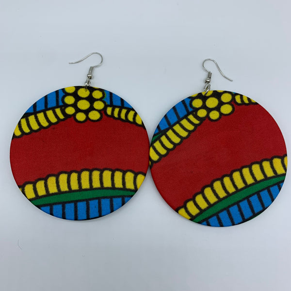African Print Earrings-Round L Red Variation 10