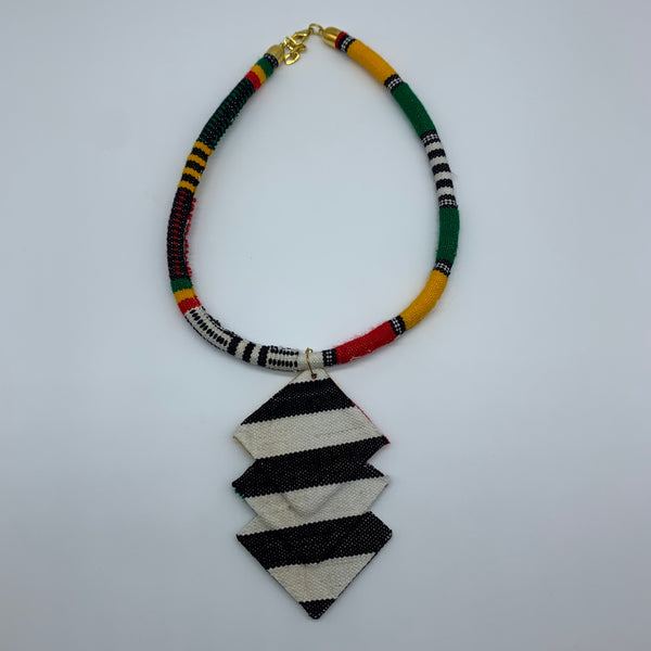 African Print Bangle Necklace -Multi Colour Variation 2