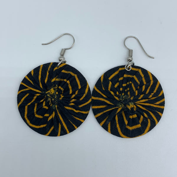 African Print Earrings-Round XS Black Variation 6 - Lillon Boutique