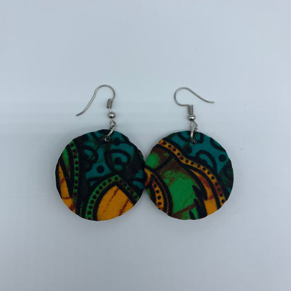 African Print Earrings-Round XS Green Variation 15