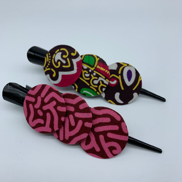 African Print Hair Clip- L Pink Variation
