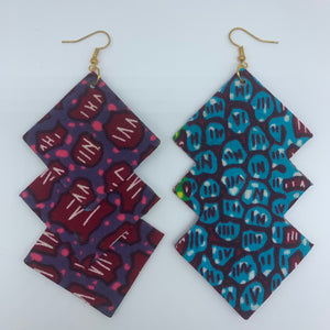 African Print Earrings-3 Squares Reversible Red Variation