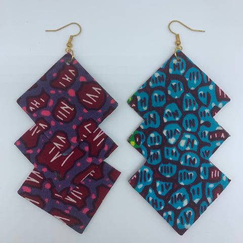 African Print Earrings-3 Squares Reversible Red Variation - Lillon Boutique