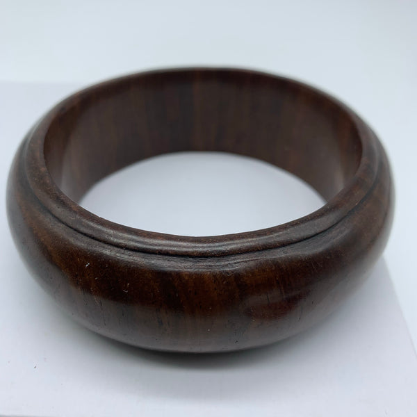 Wooden Bangle-L Carved Brown Variation 1