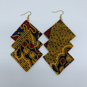 African Print Earrings-3 Squares Reversible Yellow Variation 2 - Lillon Boutique