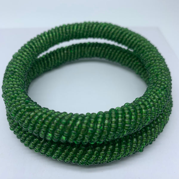 Beaded Bangle-Metallic Green 2