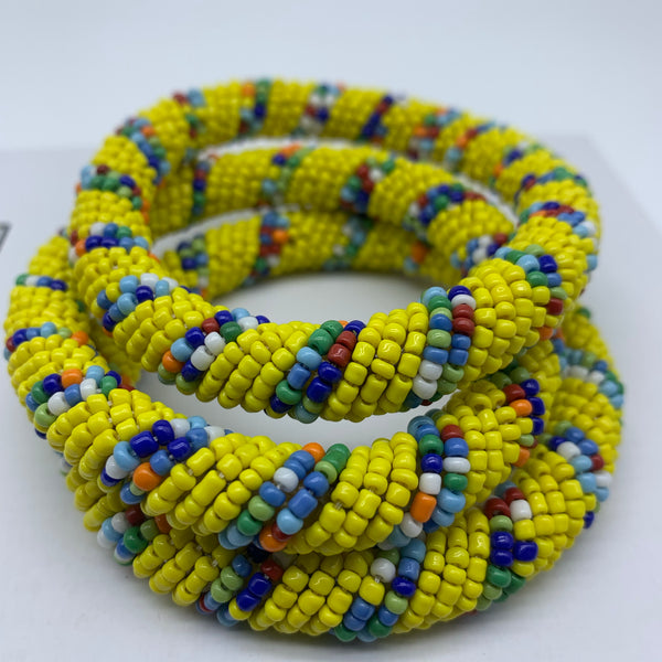 Beaded Bangle-Yellow and Multi Colour Variation - Lillon Boutique
