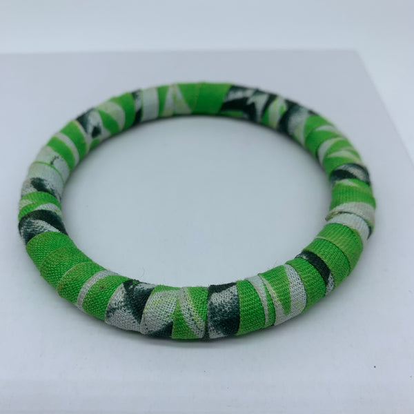 African Print Bangle-Green Variation 2